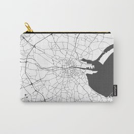 White on Grey Dublin Street Map Carry-All Pouch
