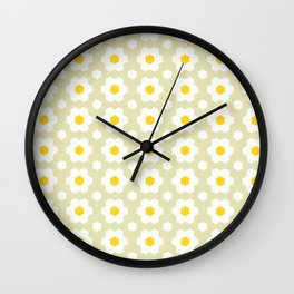 Honeycomb X Daisies (Khaki)  Wall Clock