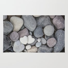 Heart Pebble Stone Mineral Love Symbol Rug