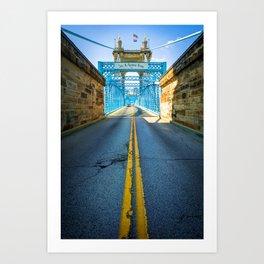 Road to the John A. Roebling Bridge - Cincinnati Ohio Art Print