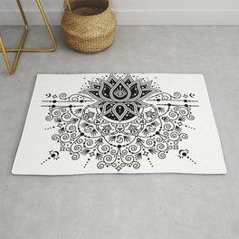 Lotus Blossom Mandala – Black Palette Rug