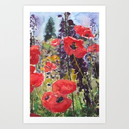 "Red Poppy Field Painting Reproduction Watercolor ""Wild Poppy Field"" Art Print"