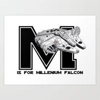 millenium falcon Art Prints featuring M is for Millenium Falcon by Koi Moon