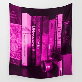 CHARLOTTE'S BOOKSHELF PURPLE Wall Tapestry