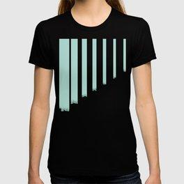 Soft cyan stripes on concrete T-shirt
