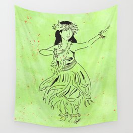 The Hula Kahiko of Laka  (traditional hula dancer in grass skirt) Wall Tapestry