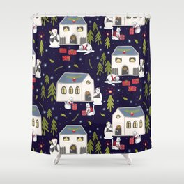 Christmas Cats Village Festive Seamless Vector Pattern, Drawn Present Boxes Shower Curtain