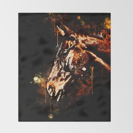 horse splatter watercolor Throw Blanket