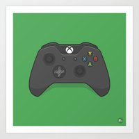 xbox Art Prints featuring Xbox One Controller by Kevin Butler Design