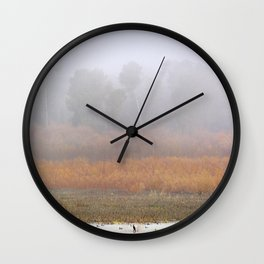 Wild ducks and cormorants at foggy sunrise  Into the foggy lake Wall Clock