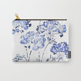 abstract Queen Anne's Lace flower in blue Carry-All Pouch