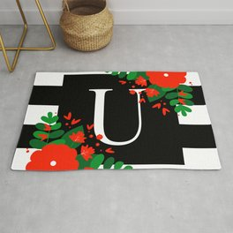 U - Monogram Black and White with Red Flowers Rug