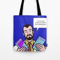 lichtenstein Tote Bags featuring Doctor Krieger Lichtenstein by turantuluy