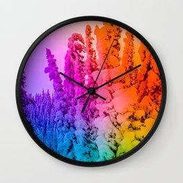 rainbow winter forest gradient 0862 Wall Clock
