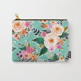 GOOD MOOD Aqua Watercolor Floral Carry-All Pouch