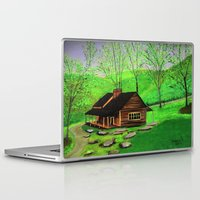 cabin Laptop & iPad Skins featuring Hillside cabin by maggs326