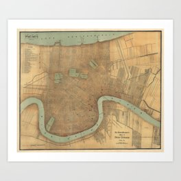 Vintage Map of New Orleans (1919) Art Print