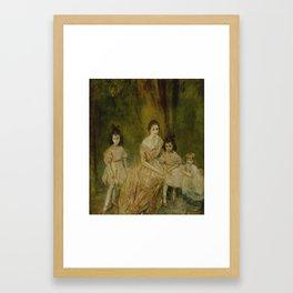 Ambrose McEvoy, A.R.A. 1878-1927 PORTRAIT OF MADAME GANDRILLAS AND HER CHILDREN, MARIE-ROSE, CARMEN Framed Art Print