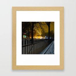 Snowstorm in Boston Common Framed Art Print