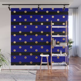 Black and blue stripes polka dot gold pattern Wall Mural