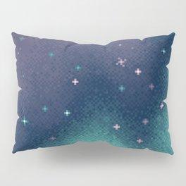 Lilac and Aqua Pixel Galaxy Pillow Sham