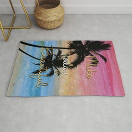 """""""Make today beautiful"""" gold quote, watercolor abstract summer sea colors Rug"""