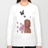 irish Long Sleeve T-shirts featuring Irish Setter by artofnadia