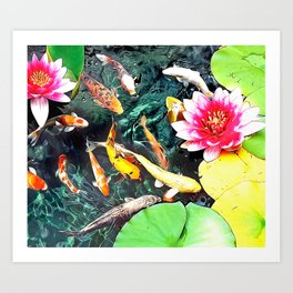 Koi and Water Lilies Art Print