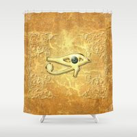 all seeing eye Shower Curtains featuring The all seeing eye by nicky2342