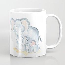 elephants watercolor painting, baby elephant with mom Coffee Mug