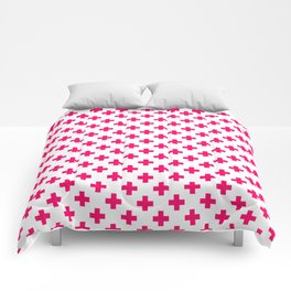 Hot Neon Pink Crosses on White Comforters