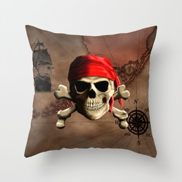 The Jolly Roger Pirate Map Throw Pillow
