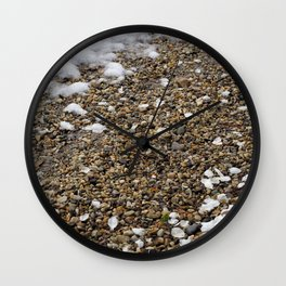 Snow, Pebbles, and Petals Wall Clock
