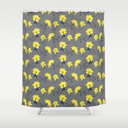 Yellow Flowers on Gray/Grey background, floral pattern Shower Curtain