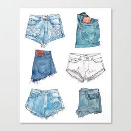 Denim Shorts Collection Canvas Print