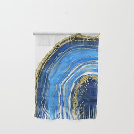 Cobalt blue and gold geode in watercolor (2) Wall Hanging