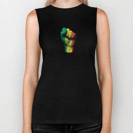 Senegal Flag on a Raised Clenched Fist Biker Tank