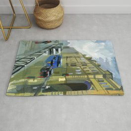 Cityscape, the street after the rain. Rug