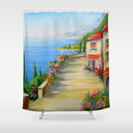 The town by the sea Shower Curtain