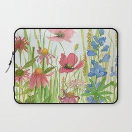 Watercolor Garden Flower Poppies Lupine Coneflower Wildflower Laptop Sleeve