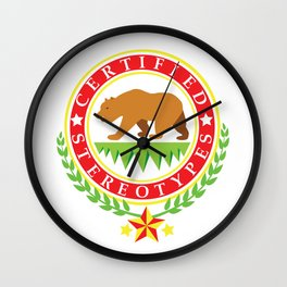 California Certified Stereotypes Flag Wall Clock