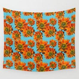 Orange Sunflower Pattern Wall Tapestry