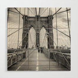 Brooklyn Bridge, New York City (rustic black & white) Wood Wall Art