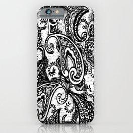 paisley batik black iPhone Case