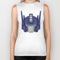 optimus prime Biker Tanks featuring Optimus Prime by Tombst0ne