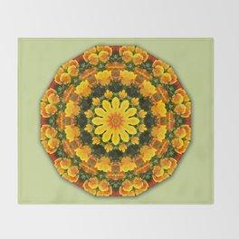 Floral mandala-style, California Poppies Throw Blanket