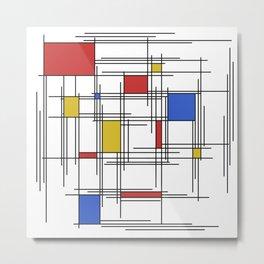 Mondrian Scratch Art 1 Metal Print