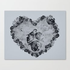 Blue Bird Heart Canvas Print