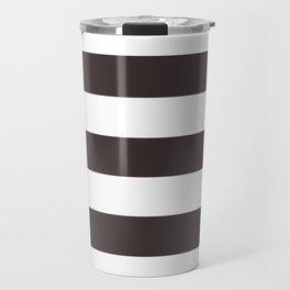 Black coffee - solid color - white stripes pattern Travel Mug
