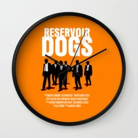reservoir dogs Wall Clocks featuring Reservoir Dogs Movie Poster by FunnyFaceArt